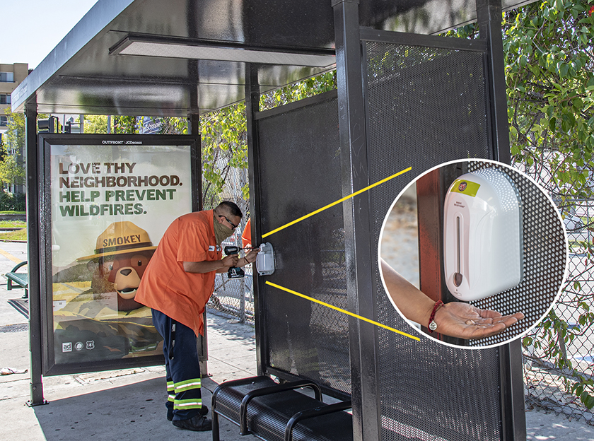 Transit Shelter Hand Sanitizers