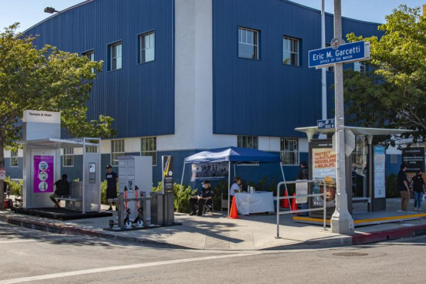 In the race to modernize LA's bus shelters, two companies displayed samples of their work to give the public the chance to see and feel proposed designs and possible new features.